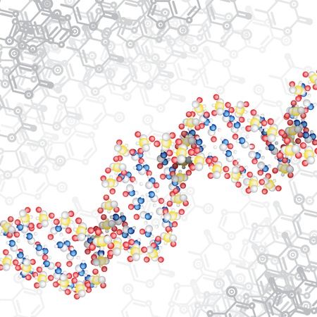 dna structure with chemical scheme background