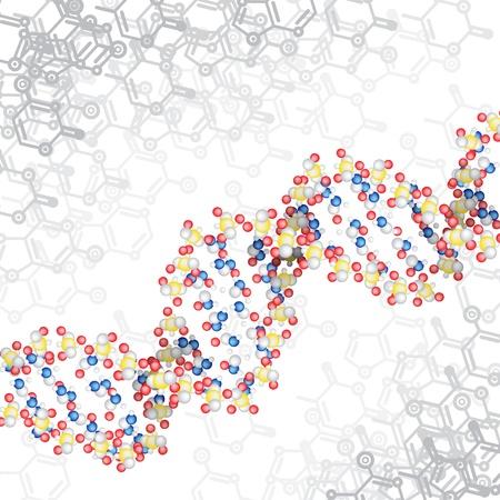 DNA-Struktur mit chemischen Schema Hintergrund Illustration