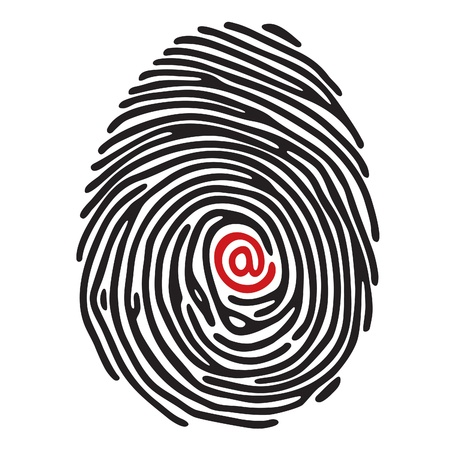 simplified: finger print with @ sign