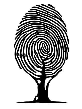 empreinte du pouce: arbre d'empreintes digitales Illustration