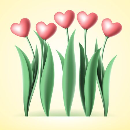 heart tulips on yellow background Stock Vector - 18178769