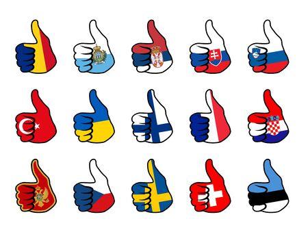 serbien: wie Symbol mit Flagge von europ�ischen L�ndern