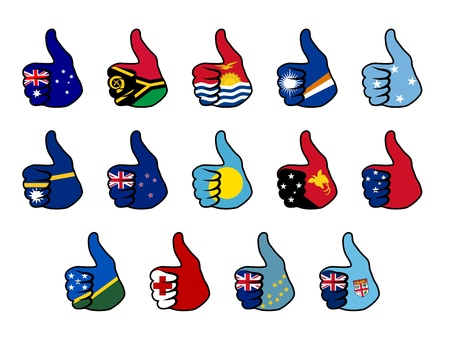 oceania: like symbol with flag of oceania countries