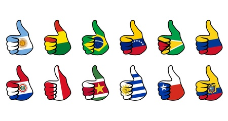 like symbol with flag of south america countries Vector