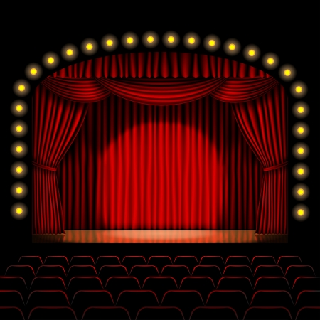 stage with red curtain background Vector