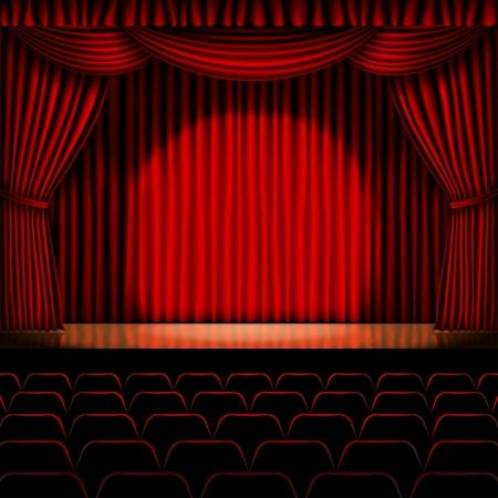 赤いカーテンの背景を持つステージ