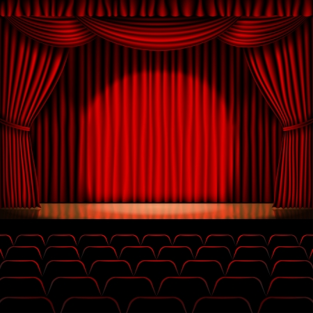 stage with red curtain background Vectores
