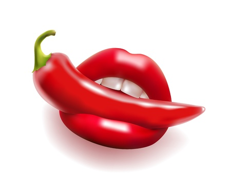 red hot chili pepper in open mouth Vector