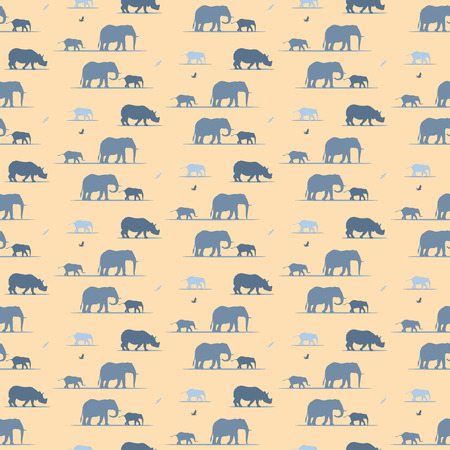 elephants and rhino wallpaper pattern Vector