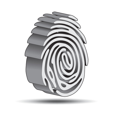 finger print 3D with shadow Vector