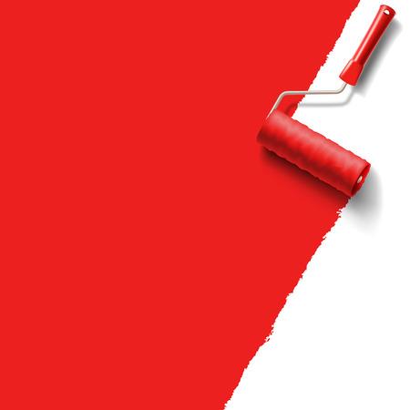 roller brush: cepillo de pintura roja Vectores