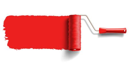 赤いペンキのローラーのブラシ
