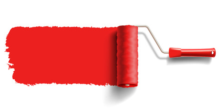 roller brush with red paint Vector