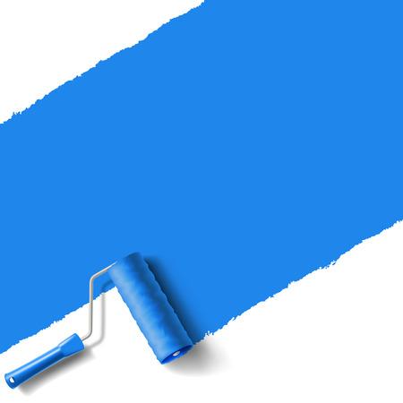 Pennello rullo con vernice blu parete Archivio Fotografico - 29843459