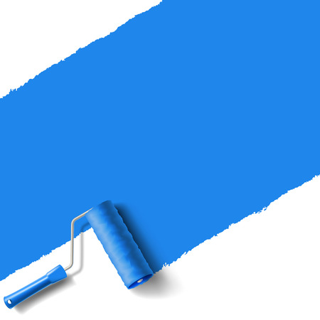 roller brush with blue paint wall