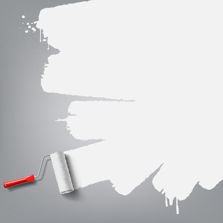 白いペンキでローラーのブラシ