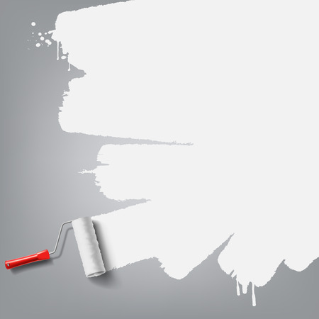 roller brush with white paint Illustration
