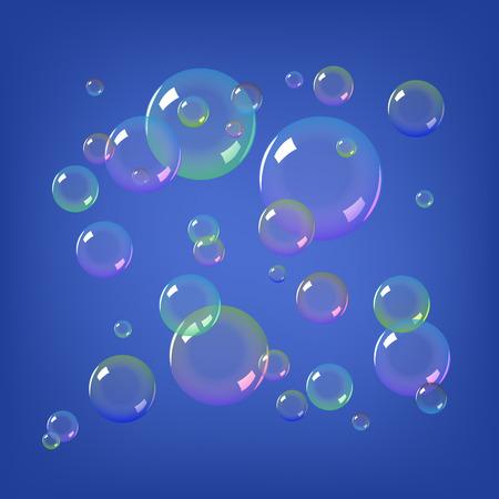 Soap bubbles on blue background Vector