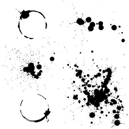 set of black ink splashes