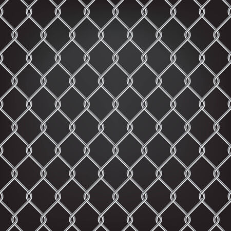 chain fence: metal chain link fence seamless on black Illustration