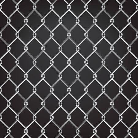 link fence: metal chain link fence seamless on black Illustration