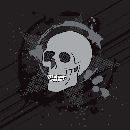 spook: dark abstract composition with skull