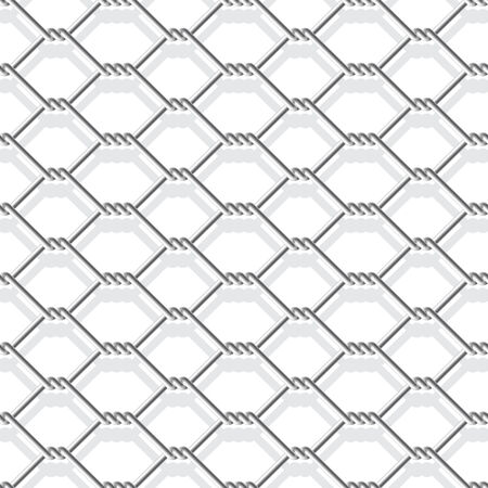 link fence: metal chain link fence seamless on white Illustration