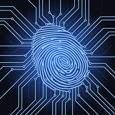 fingerprint identification system electronics scheme Vectores