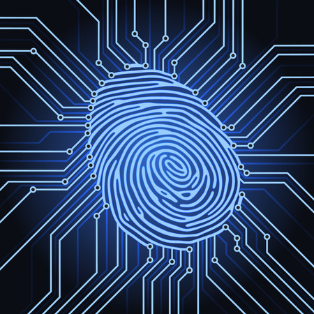 fingerprint identification system electronics scheme Vector