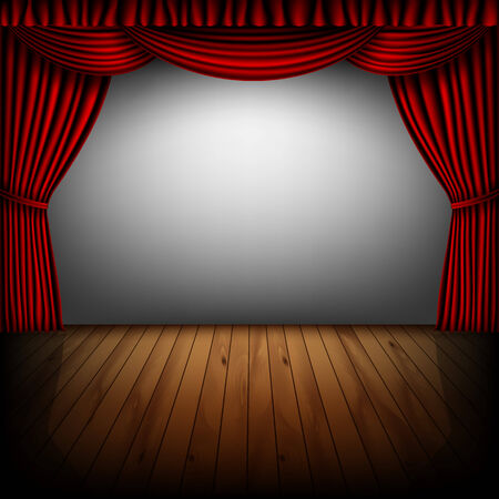 cinema screen: stage with red curtain and cinema screen Illustration