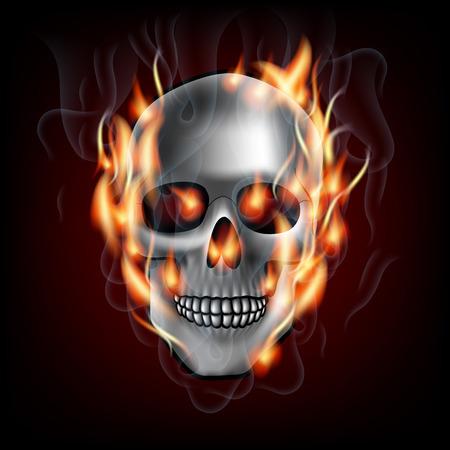 the human skull on fire Vector