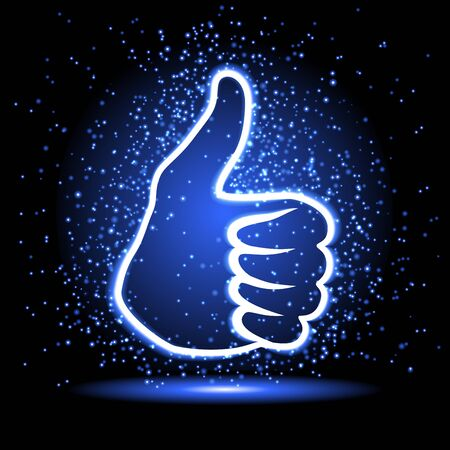 like hand: neon like hand sign with sparkle Illustration
