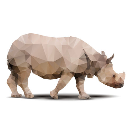 african grey: polygonal rhinoceros Illustration