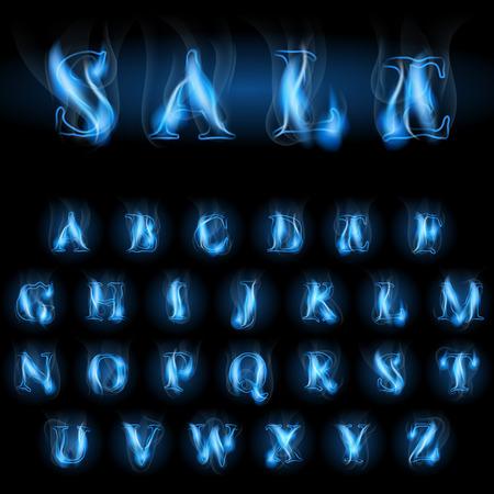sale blue fire latin alphabet letters Illustration