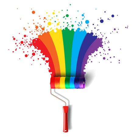 rainbow colours: roller brush with rainbow splash