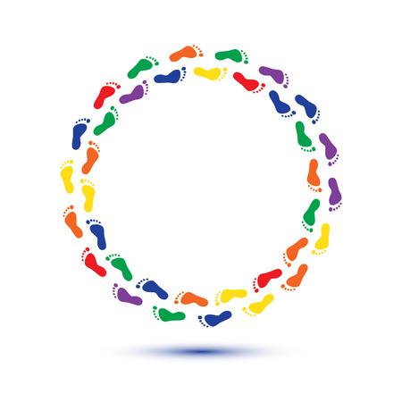 round circle child foot steps
