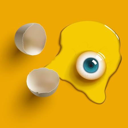 raw egg: cracked raw egg with eye