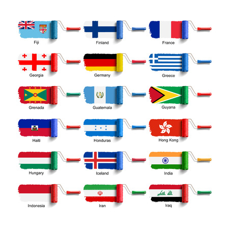 roller brush with national flag Vector