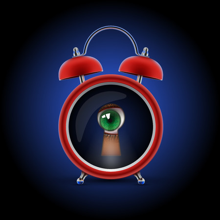 pry: red alarm clock with keyhole eye Illustration