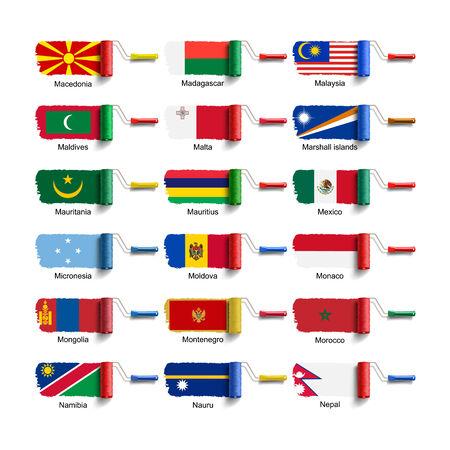 malta flag: roller brush with national flag