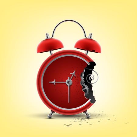 bitten: reloj de alarma rojo picado Vectores