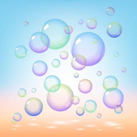 wet flies: Soap bubbles on blue background Illustration