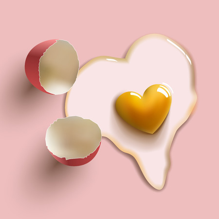 heart shape cracked raw egg Иллюстрация