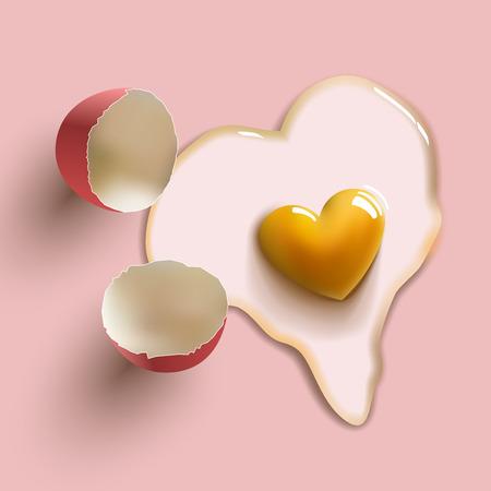 raw egg: heart shape cracked raw egg Illustration