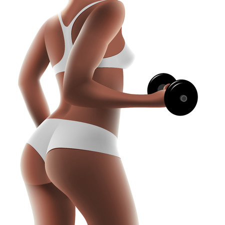 arm muscles: athletic woman pumping up muscles with dumbbells Illustration
