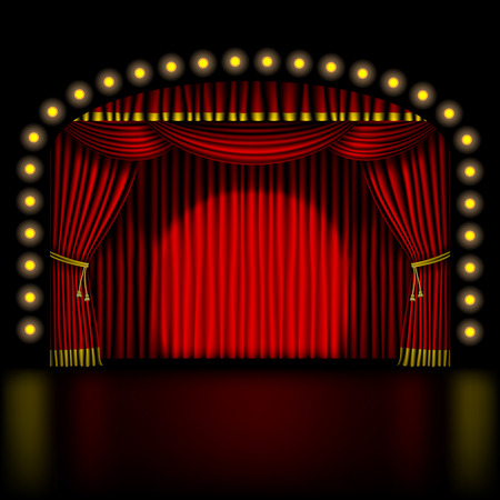 stage with red curtain and lights Vector