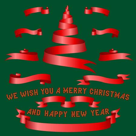 moños navideños: cintas rojas de la Navidad y el árbol en fondo verde Vectores