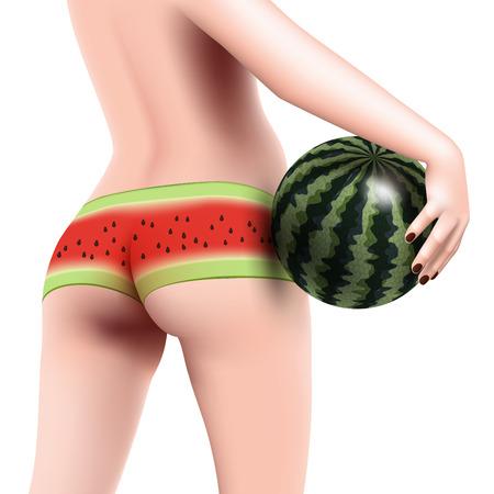 Red panties: woman in red panties with watermelon