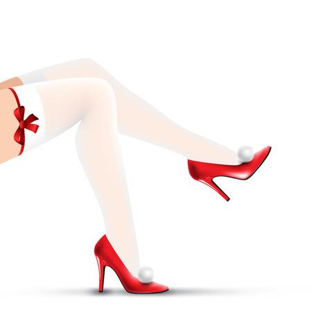 legs stockings: gambe donna di natale in scarpe rosse e le calze bianche