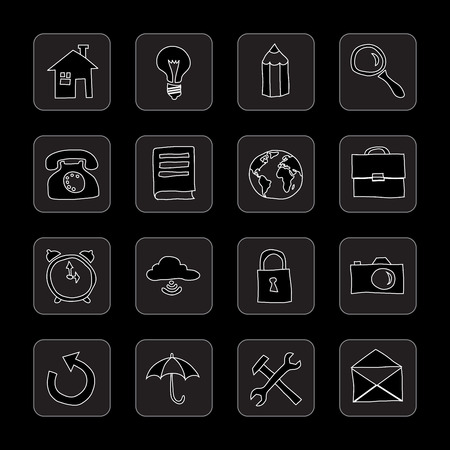 hand drawn flat black icons Vector